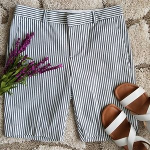 "10"" Navy and White Striped Bermuda Shorts"